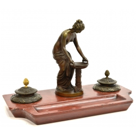 NEOCLASSICAL FIGURAL BRONZE & MARBLE INKSTAND