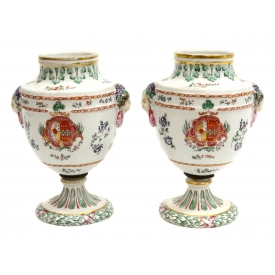 (2) SAMSON CHINESE STYLE ARMORIAL PORCELAIN URNS