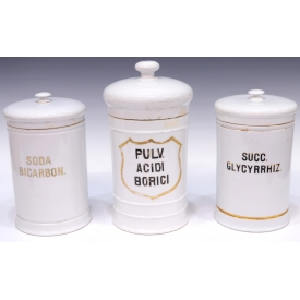 (3) LARGE CONTINENTAL PORCELAIN APOTHECARY JARS