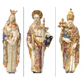 (3) EUGENIO PATTARINO MADONNA & SAINT WALL PLAQUES