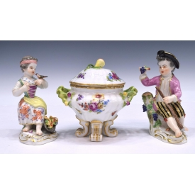 (3) MEISSEN PORCELAIN FIGURES & LIDDED JAR