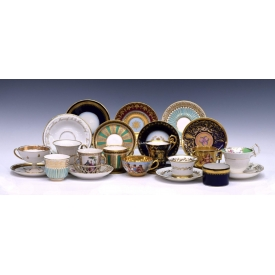(11) COLLECTION 19TH C. CONTINENTAL CUPS & SAUCERS