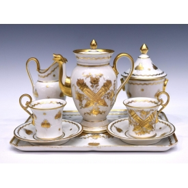 (8) FRENCH PARCEL GILT PORCELAIN COFFEE SERVICE