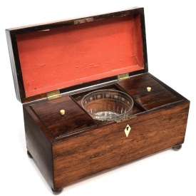 ENGLISH REGENCY ROSEWOOD FITTED TEA CADDY