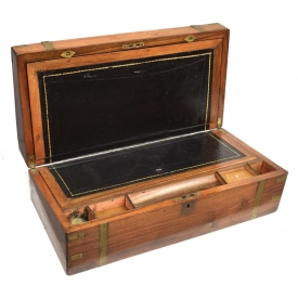 VICTORIAN BRASS BOUND WALNUT TRAVELING LAP DESK