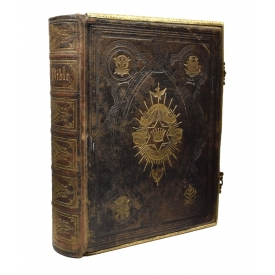 ANTIQUE ENGLISH LEATHER & BRASS BOUND HOLY BIBLE