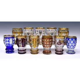 (11) GERMAN CUT TO CLEAR AND OVERLAY GOBLETS