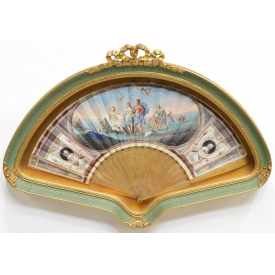 NEO RENAISSANCE GOACHE FAN IN SHADOWBOX, 18TH C.