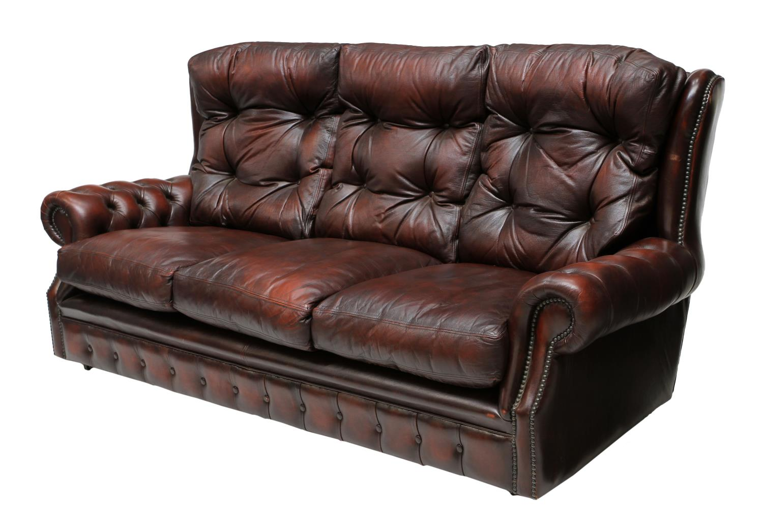 Chesterfield Oxblood Red Leather Tufted Sofa Fantastic