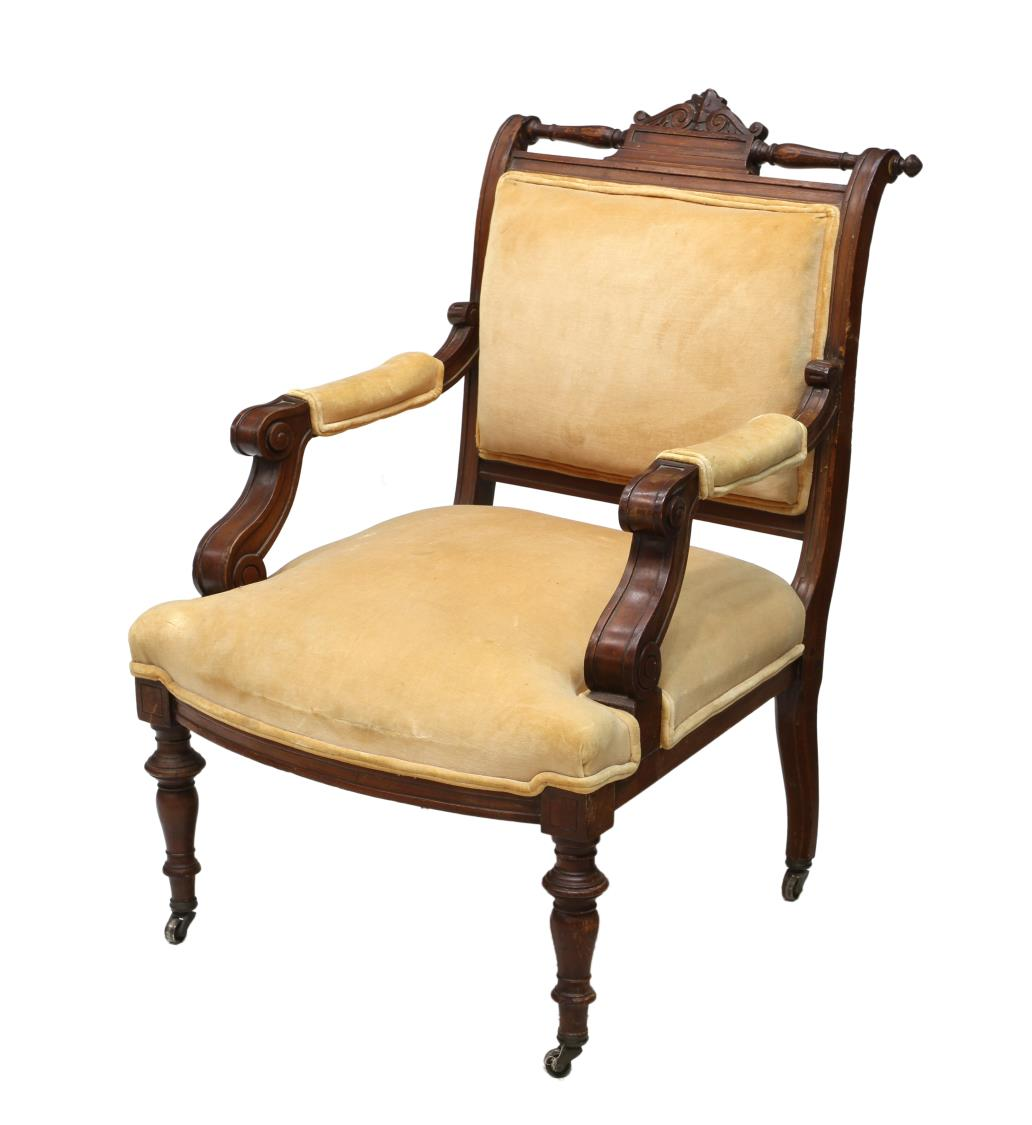 VICTORIAN UPHOLSTERED ARM CHAIR, TURNED LEGS