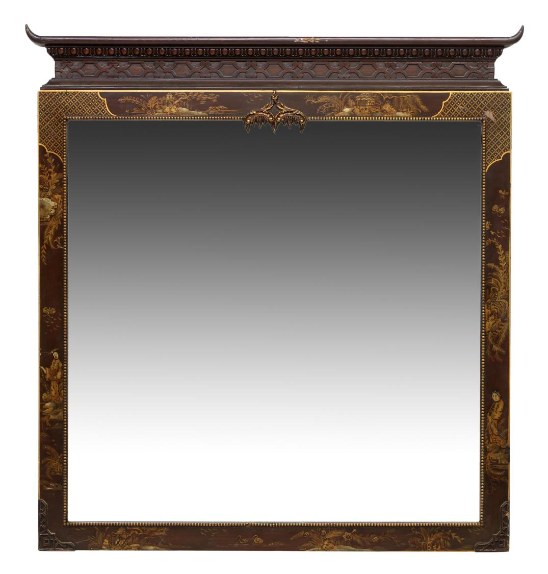 Asian style parcel gilt painted wall mirror winter for Asian style mirror