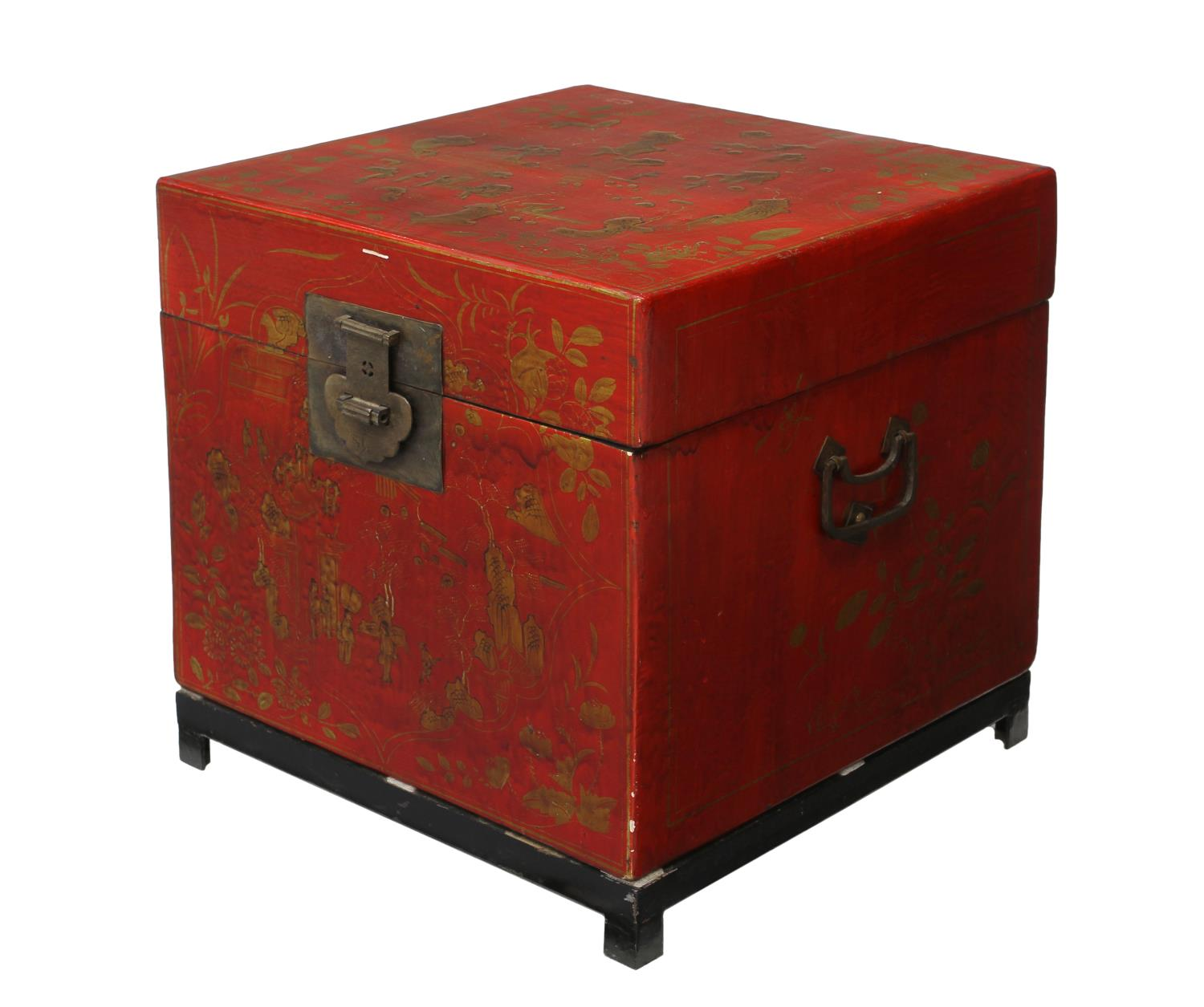 Chinese Parcel Gilt Red Lacquer Cube Storage Chest