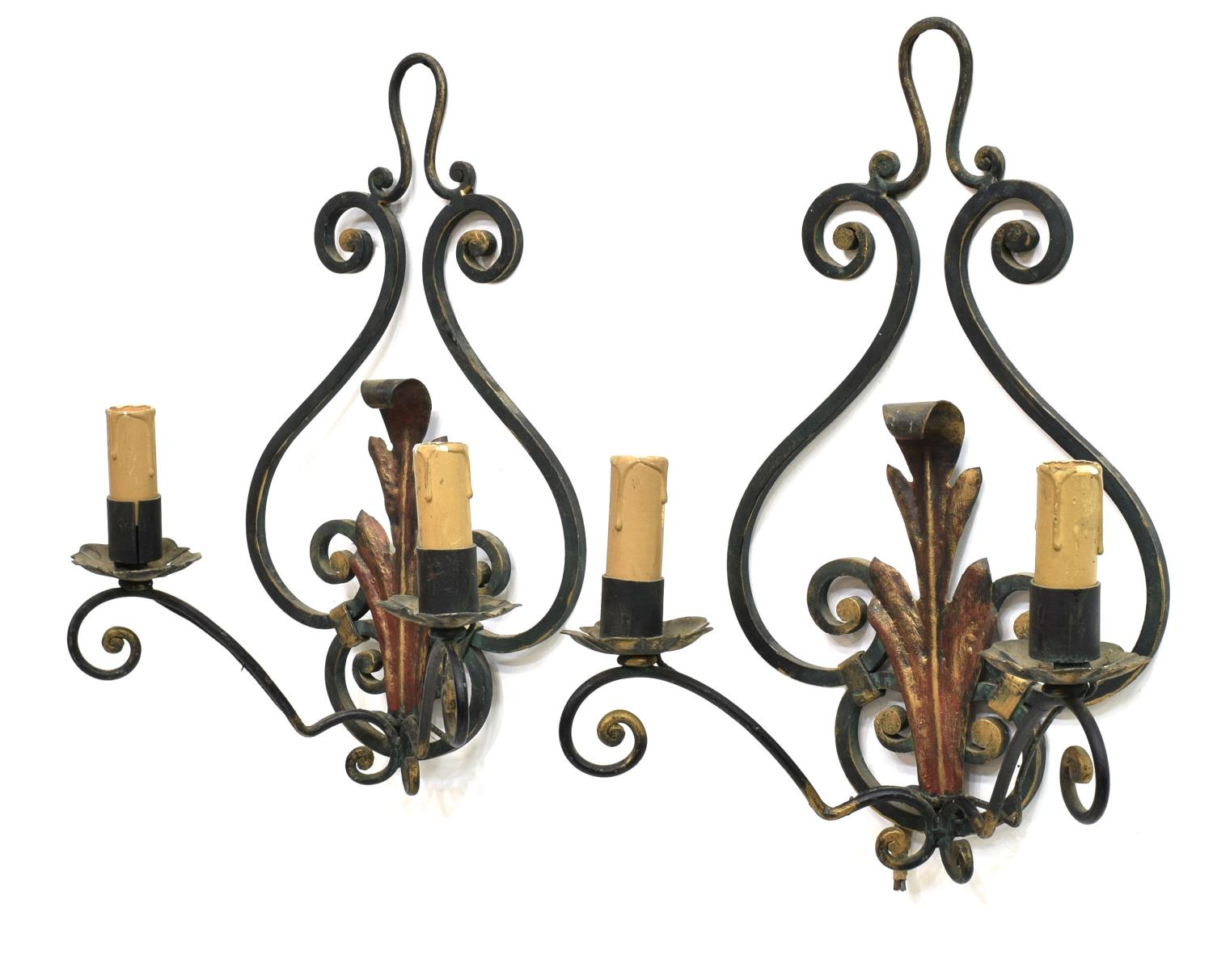 (PAIR) CONTINENTAL SCROLLED IRON WALL SCONCES - Winter Estates Auction - Day Two - Austin ...