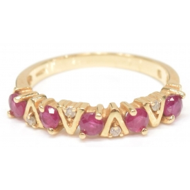 LADIES 14KT GOLD, RUBY & DIAMOND ESTATE BAND