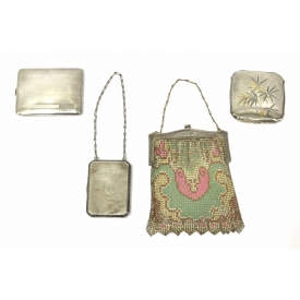 (4) STERLING & MESH LADIES PURSES / COMPACTS