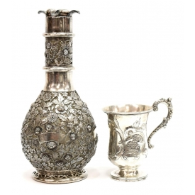 FRENCH STERLING OVERLAY DECANTER & SILVER MUG