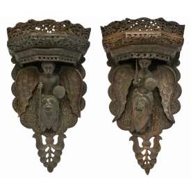 (2) PORTUGUESE COLONIAL FIGURAL CARVED BRACKETS