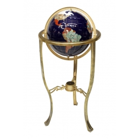 CONTEMPORARY INLAID STONE GLOBE ON BRASS STAND