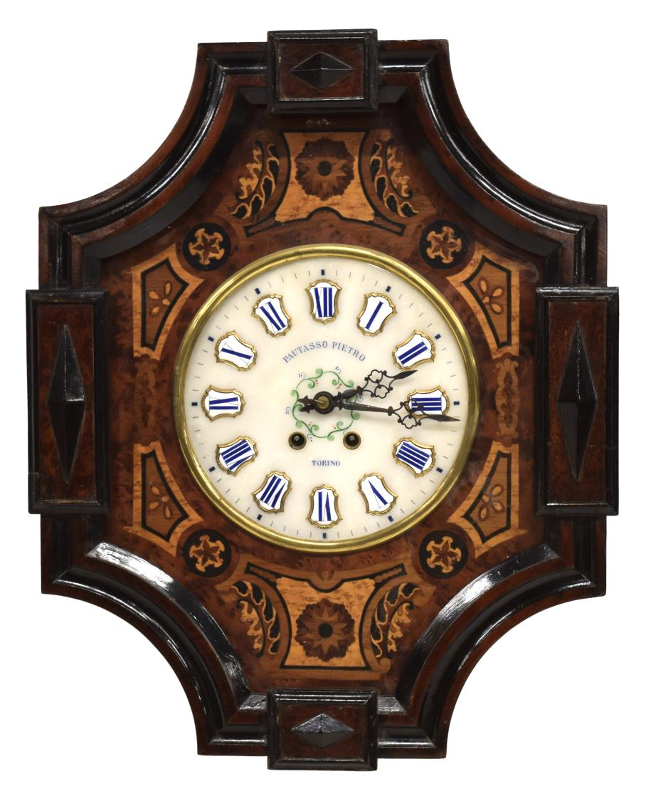 French Napoleon Iii Marquetry Inlaid Wall Clock Winter