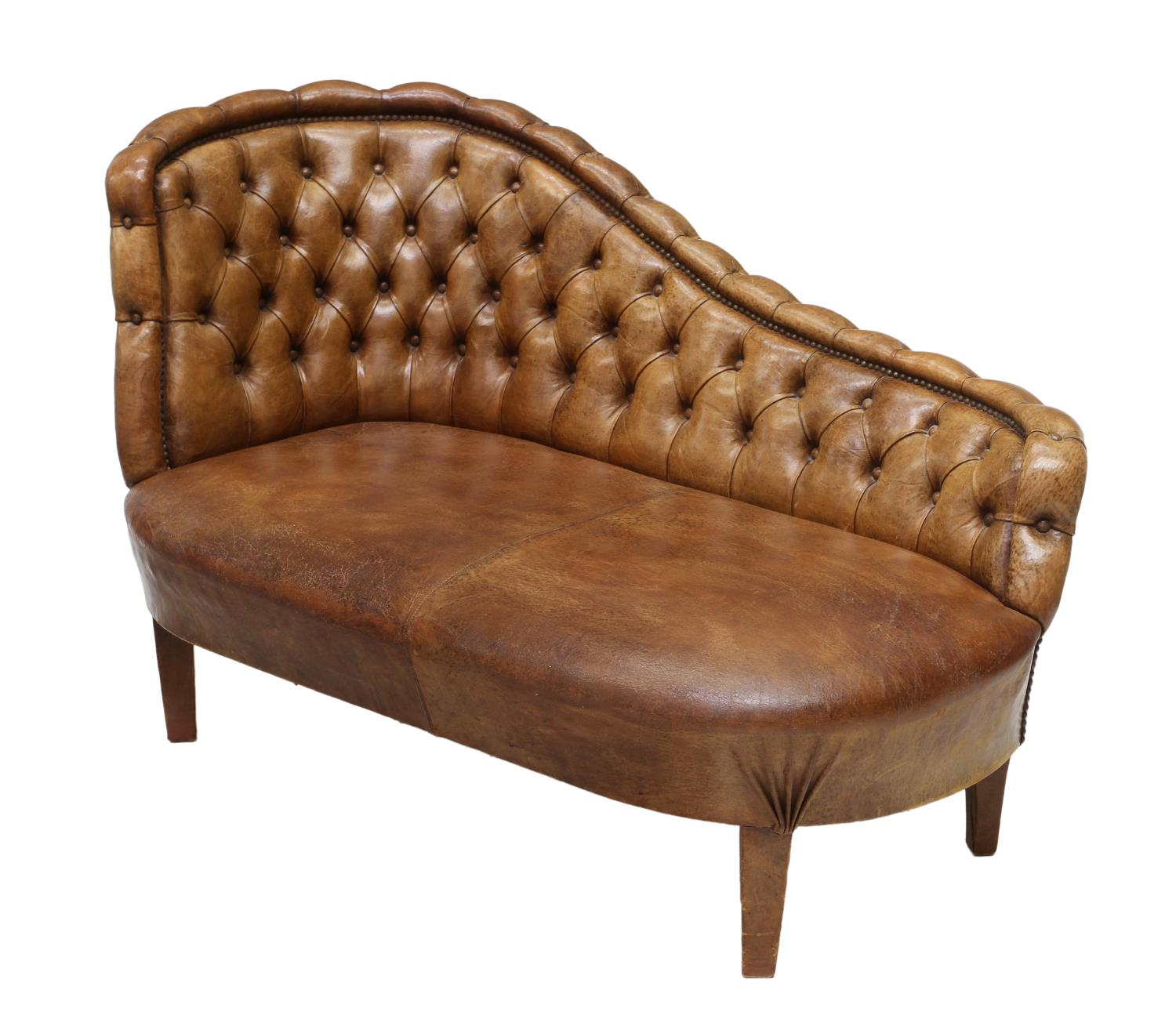 Tufted brown leather chaise lounge winter estates for Brown leather lounge with chaise
