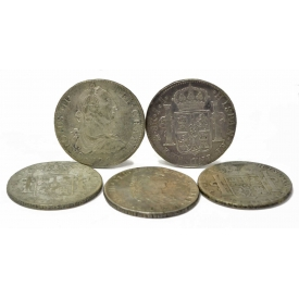 (5) SPANISH COLONIAL CAROLUS COINS, 8 REALES