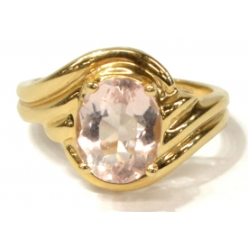 LADIES 14KT GOLD & ROSE QUARTZ ESTATE RING