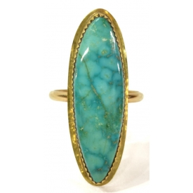 LADIES 14KT YELLOW GOLD BLUE CABOCHON ESTATE RING