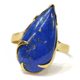 LADIES 14KT YELLOW GOLD & LAPIS LAZULI ESTATE RING