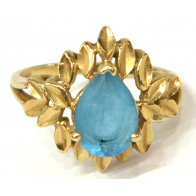 LADIES 14KT GOLD & PEAR CUT BLUE TOPAZ ESTATE RING