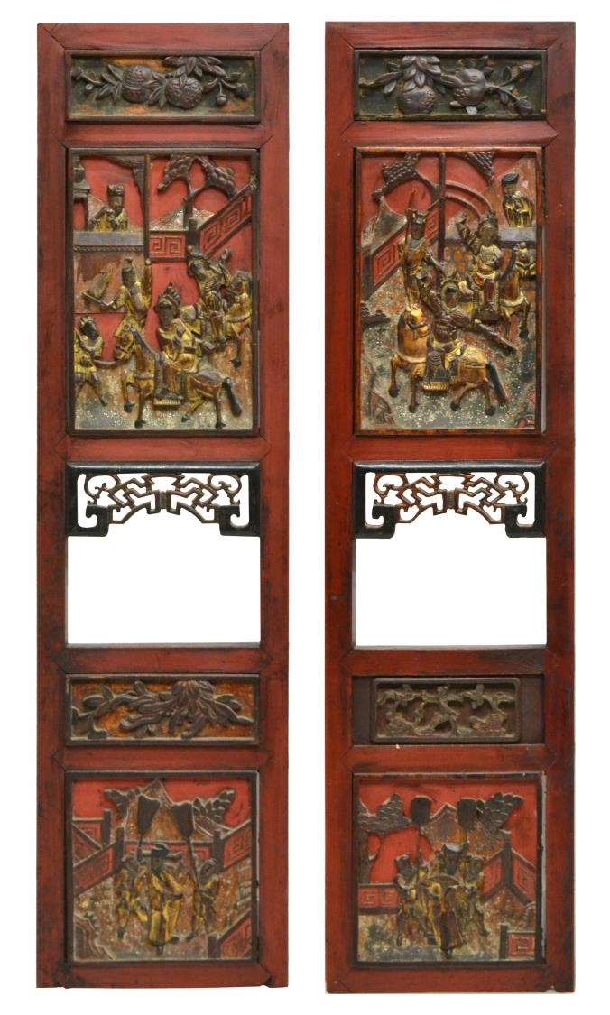 Old Wood Wall Paneling: (PAIR) ANTIQUE GILT & CARVED WOOD WALL PANELS