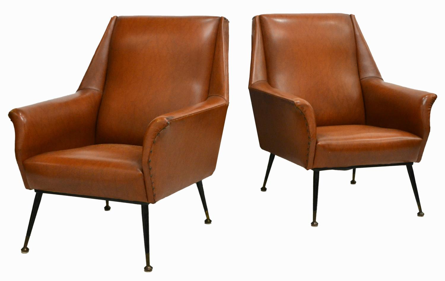 Italian Mid Century Upholstered Arm Chairs 1950s