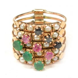 LADIES MULT-GEMSTONE FIVE BAND ESTATE RING