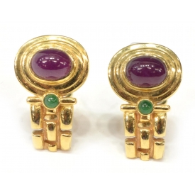 (2) LADIES 14KT GOLD, RUBY & EMERALD EARRINGS