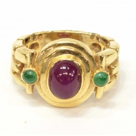LADIES 14KT GOLD, RUBY & EMERALD ESTATE RING