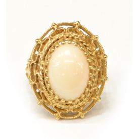 LADIES ESTATE 14KT GOLD & ANGEL SKIN CORAL RING