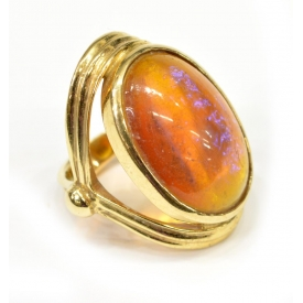 LADIES ESTATE 14KT GOLD & SIMULATED FIRE OPAL RING