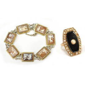 (2) ESTATE VICTORIAN ONYX RING & CAMEO BRACELET