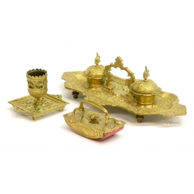(3) FRENCH GILT BRASS INKSTAND & DESK ITEMS