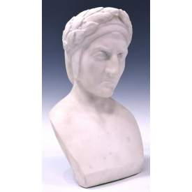LARGE ANTIQUE CARVED WHITE MARBLE BUST, DANTE