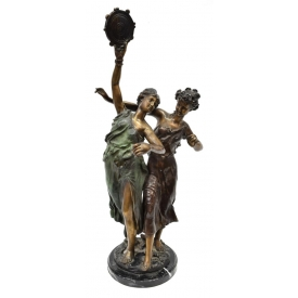 "BRONZE SCULPTURE, FEMALE DANCERS, 26""H"