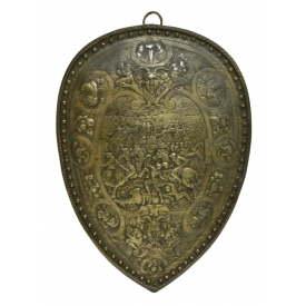 HENRY II STYLE SHIELD WITH BATTLE SCENES