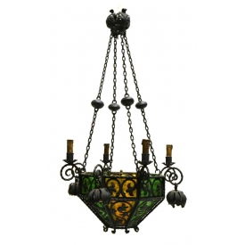 SPANISH IRON & GLASS 9-LIGHT CHANDELIER