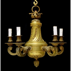 ITALIAN GILT BRONZE 5-LIGHT CHANDELIER