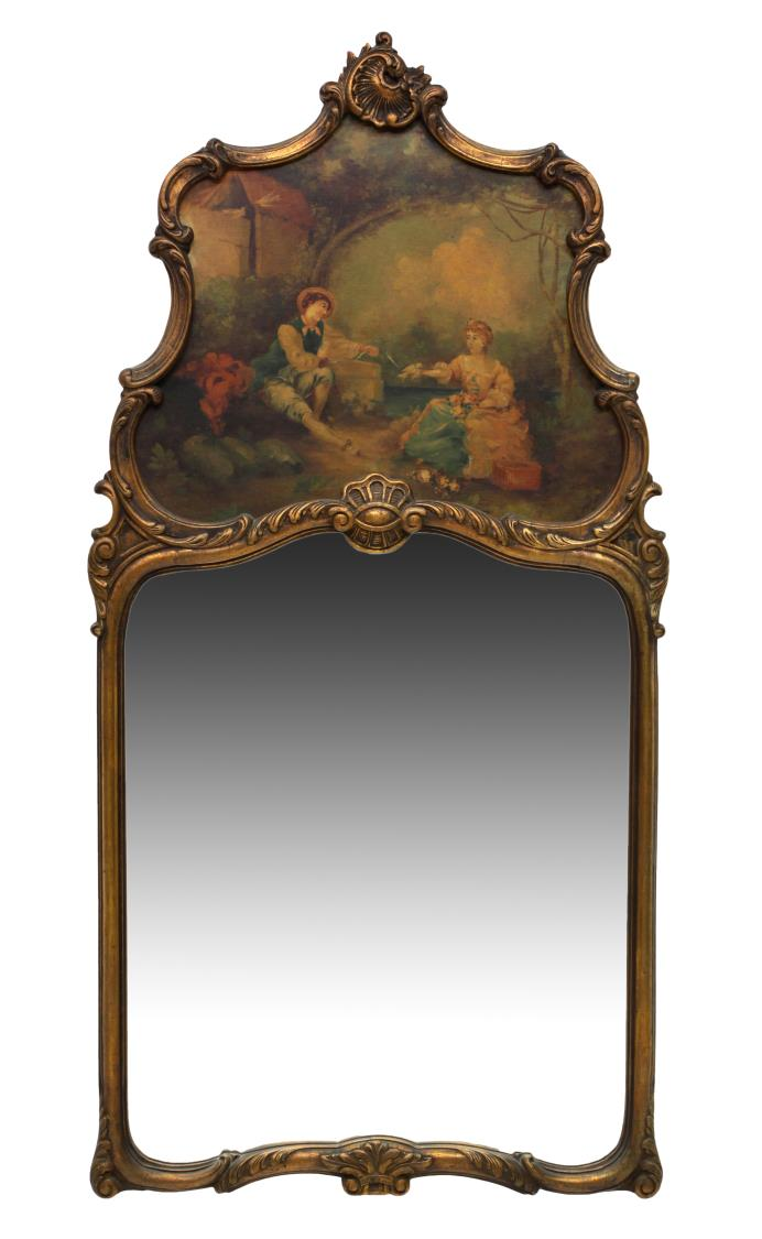 Louis Xv Style Trumeau Mirror Spectacular Carved