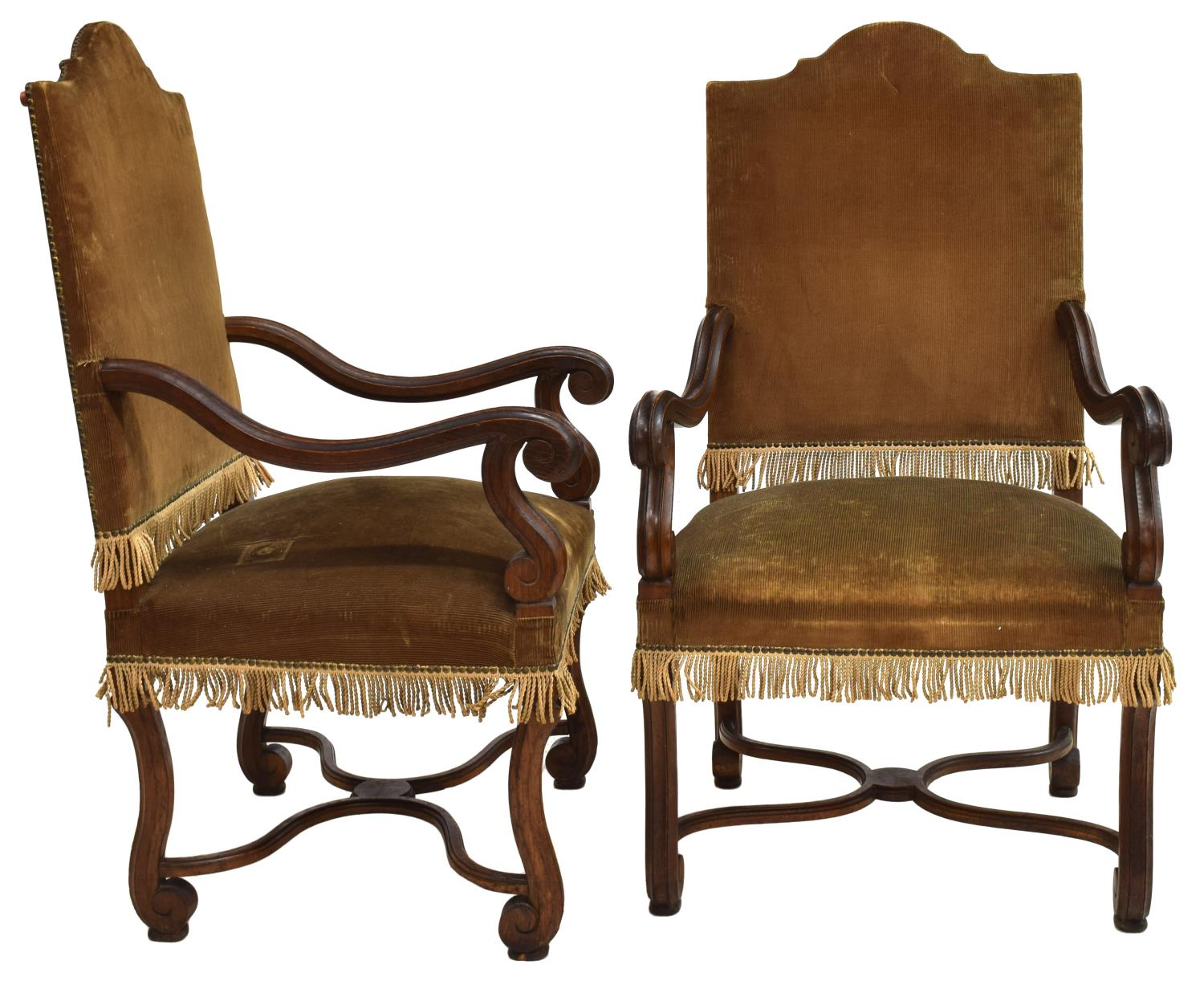 2 spanish baroque style carved arm chairs spectacular for Spanish baroque furniture