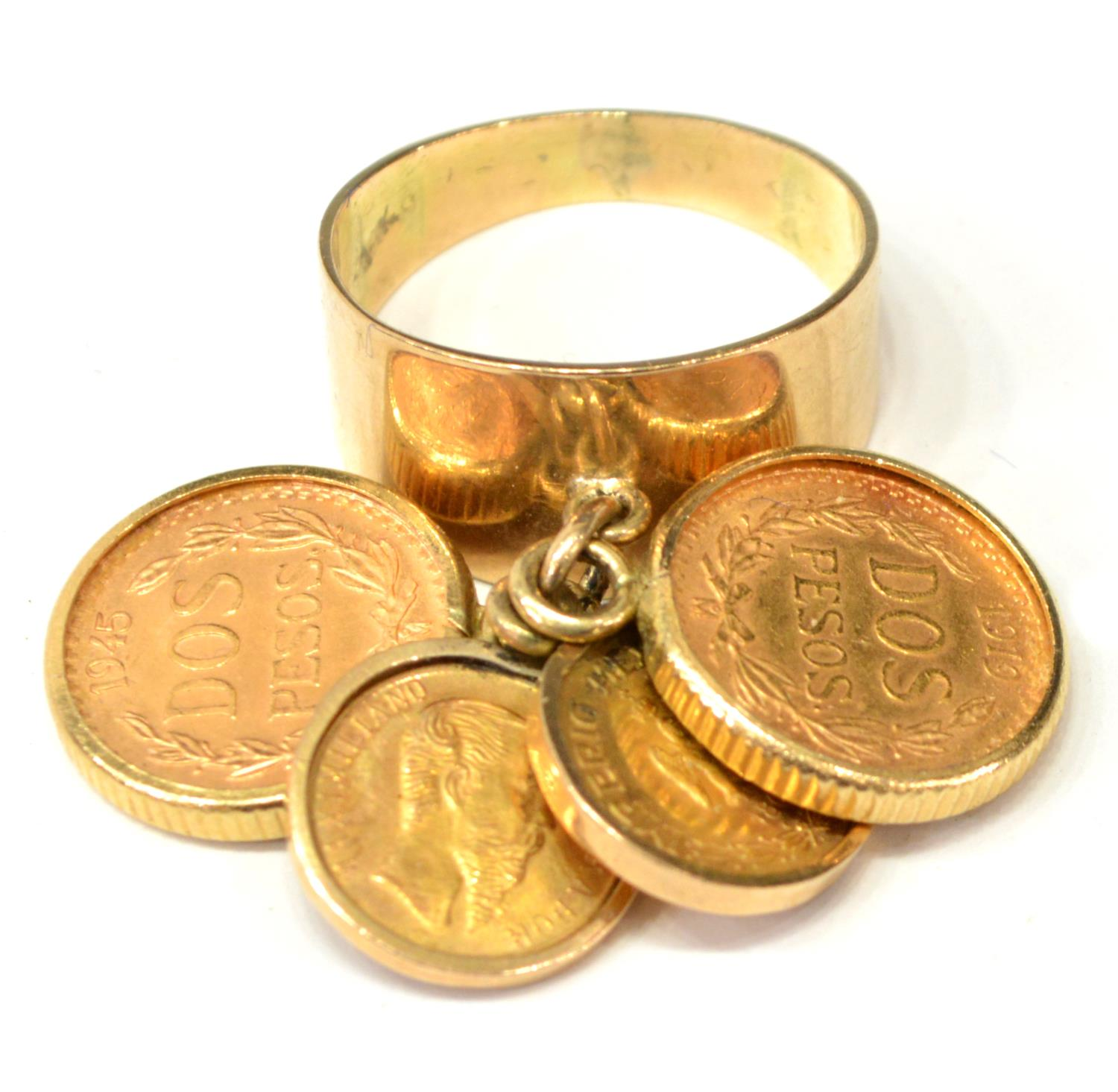 14kt gold dangling peso coin ring