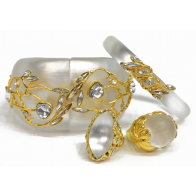 ALEXIS BITTAR CRYSTAL & WHITE LUCITE JEWELRY