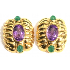 ESTATE14KT, AMETHYST AND EMERALD EARRINGS