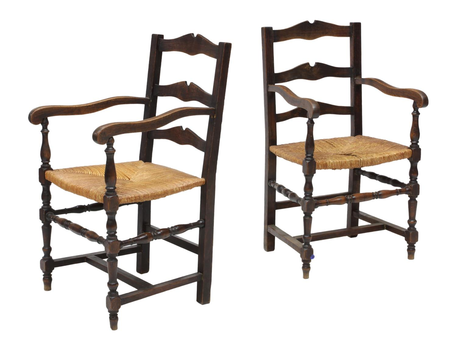 2 french country rush seat oak arm chairs jo anne