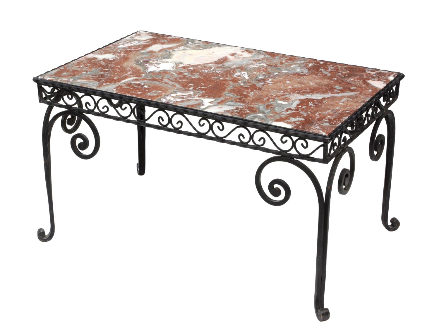 French wrought iron marble top coffee table jo anne for Marble and wrought iron coffee table